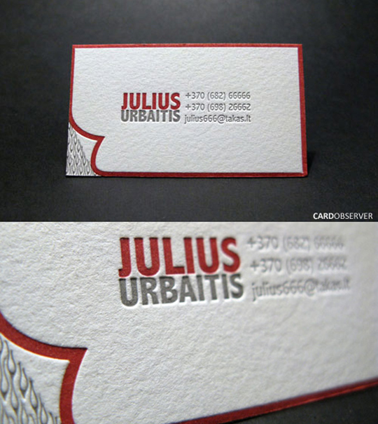 Julius Urbaitis' Letterpressed Business Card