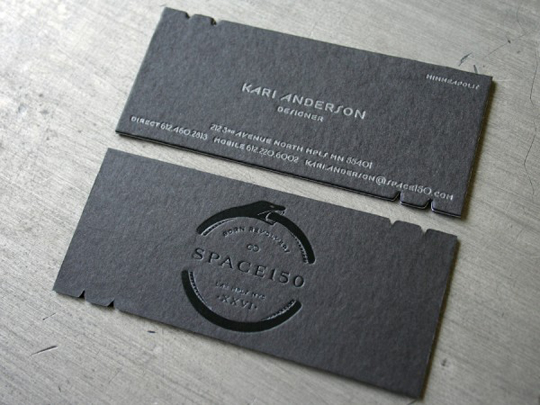 Space 150's v26 Die Cut Business Card