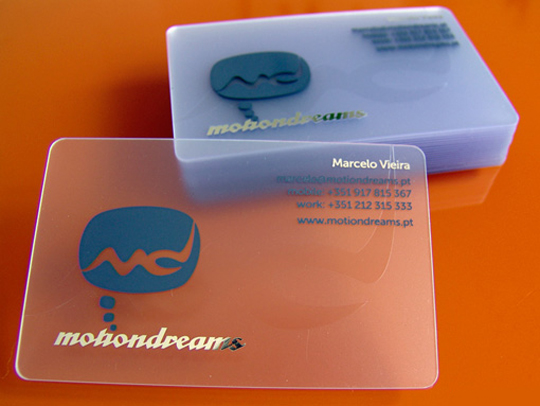 Motion Dreams' Plastic Business Card