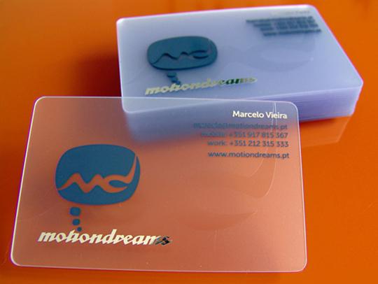 Motion Dreams' Plastic Business Card