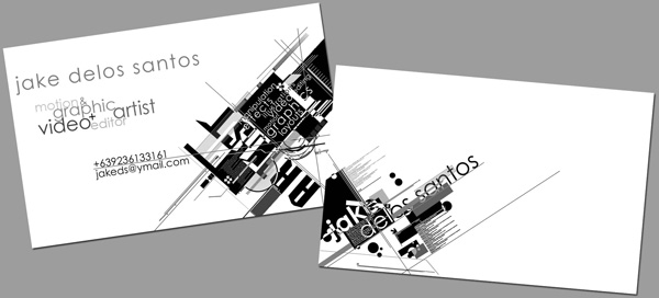 Black & White w/ Geometric Shapes Business Card by Jake Delos Santos