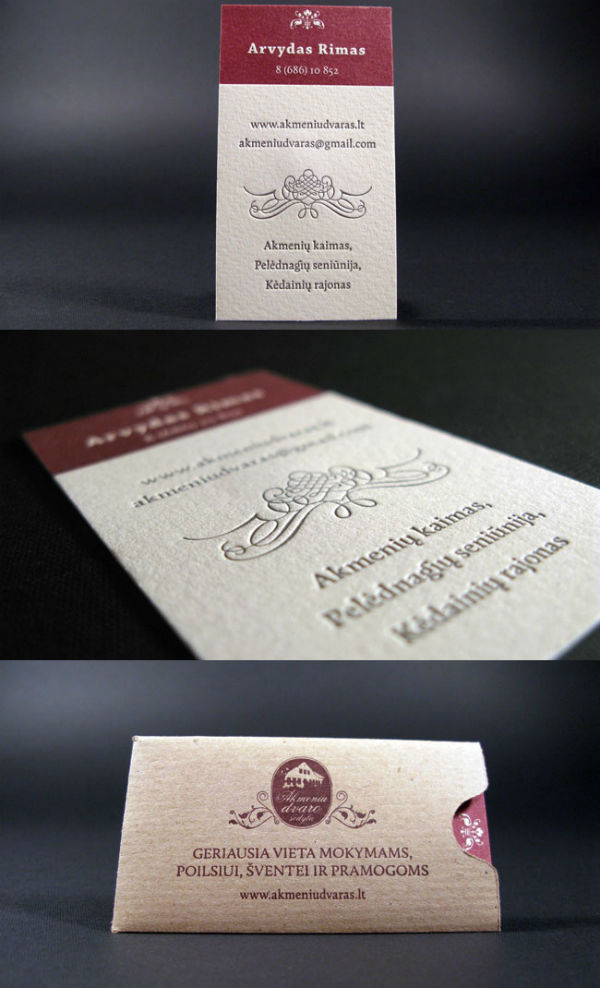 Akmenių Dvaras LetterPress Business Card