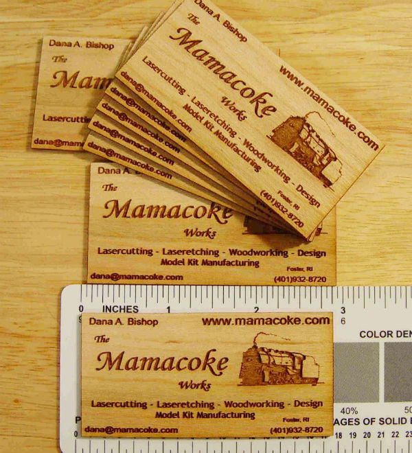 Mamacoke's Laser Etched Wood Business Card