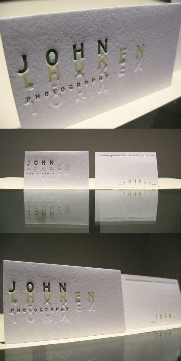 John Lauren's simple letterpress business card by Dolce Press
