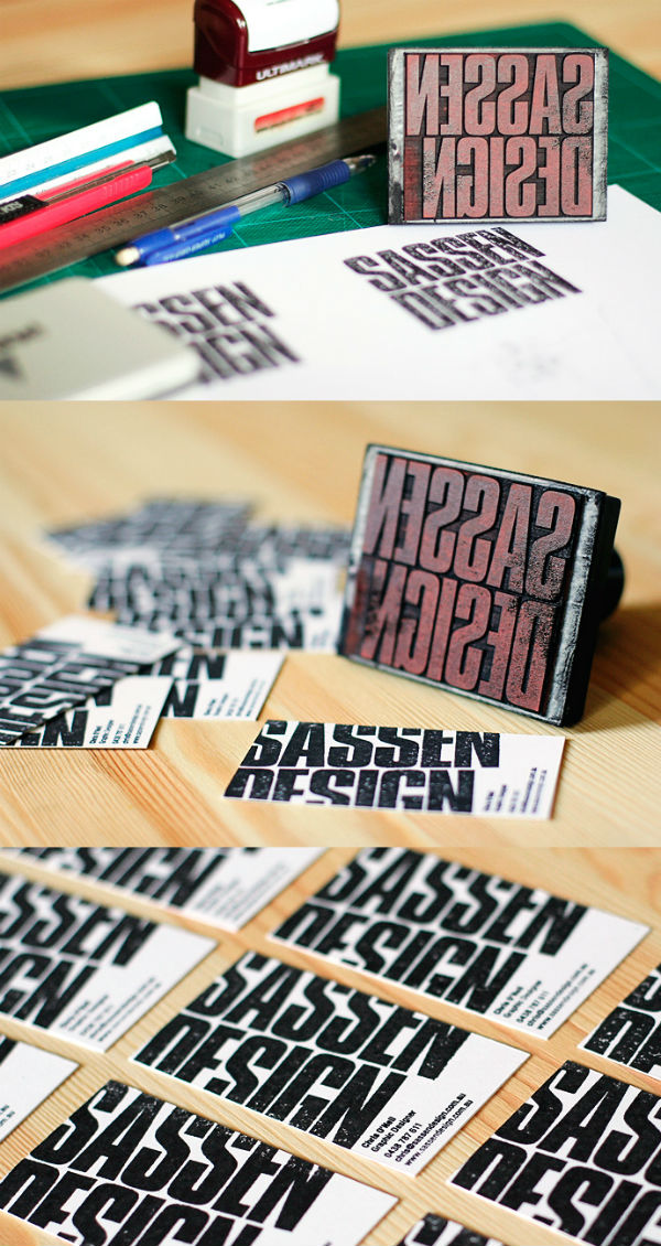Sassen Design's Cool Rubber Stamped Business Card