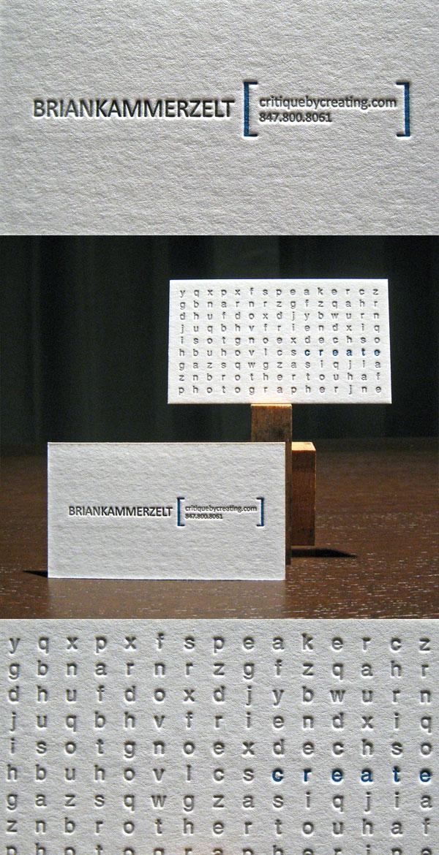 Critiquebycreating's Letterpress Business Card