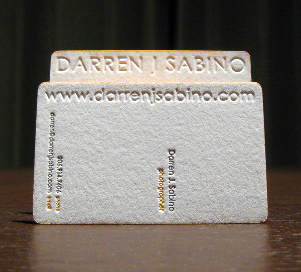 Darren Jsabino's Letterpress Business Card