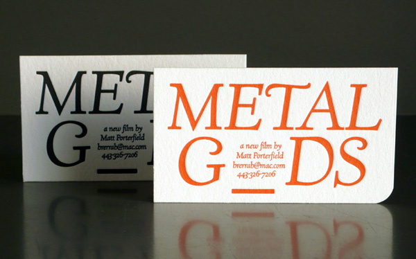 Metal Gods Letterpress Business Card