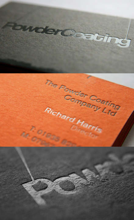An orange and black embossed business card for powder coating powder coatings business card reheart Images