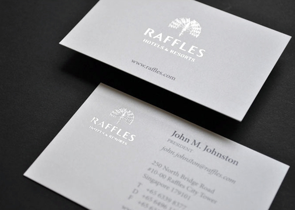 White high quality business card designed by me and mr jones for raffles resorts luxurious business card thumb colourmoves