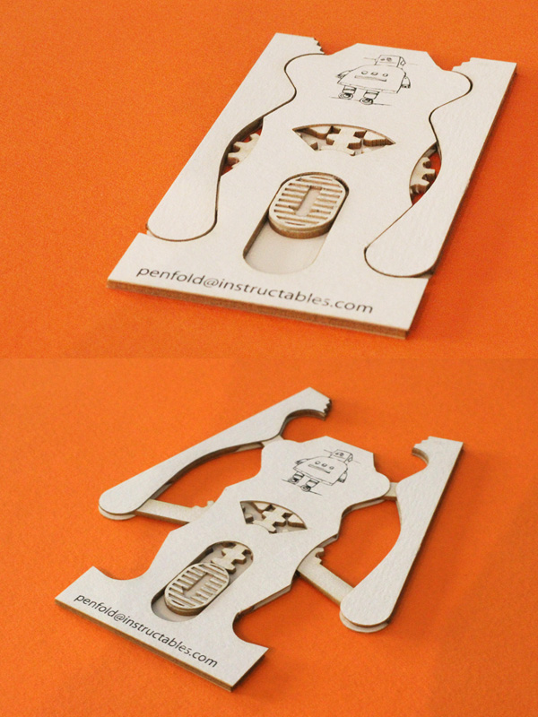 Penfold Lab's Unique Laser Cut Robotic Claw Business Card