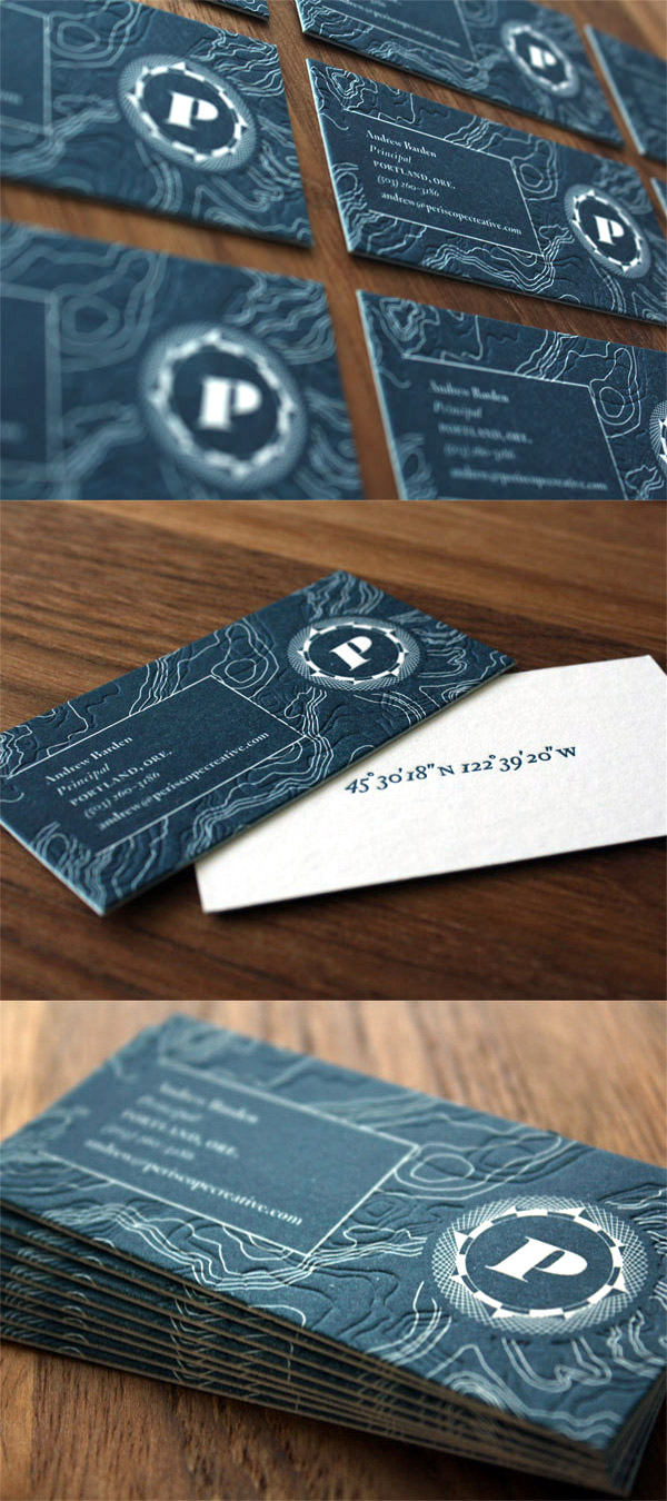 Periscope creatives textured letterpress business card periscope creatives letterpress business card reheart Image collections