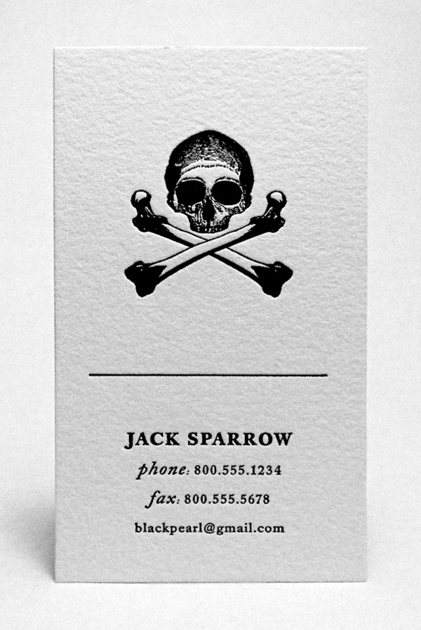 Funny Sample Business Card – Captain Jack Sparrow, Pirates of the ...