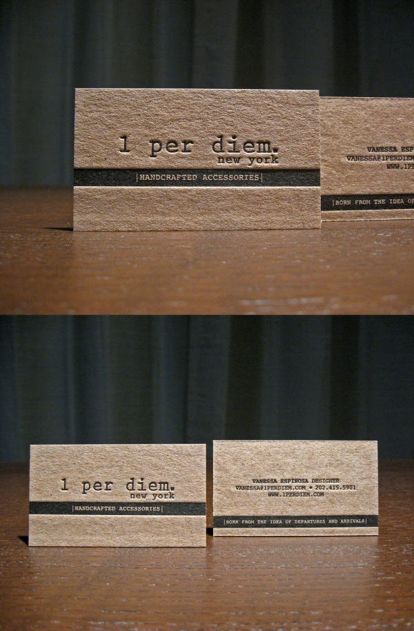 1 Per Diem New York's Letterpress Business Card