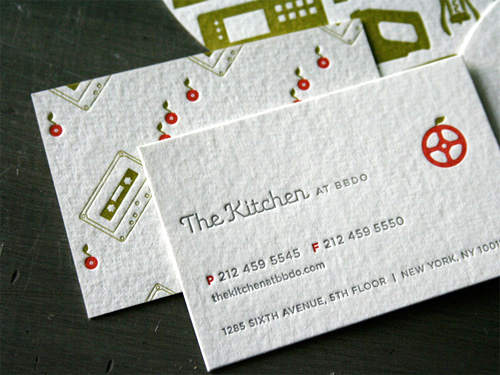 The Kitchen at BBDO LetterPress Business Cards