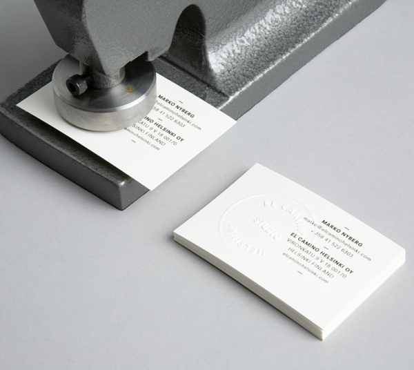 El Camino Hhelsinki S Embossed Handmade Business Card