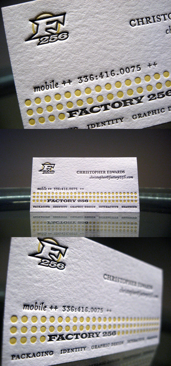Factory256's LetterPress Business Card