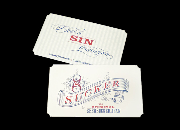 Sucker Jeans Die Cut Business Card