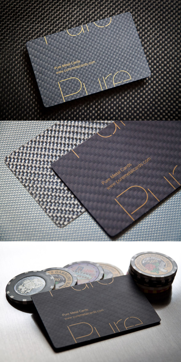 Unique Carbon Fiber Business Cards by Pure Metal Cards