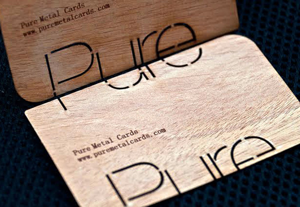 Pure Metal Cards' Real Wood Business Cards