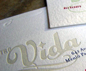 Bistro Vida's LetterPress Business Card