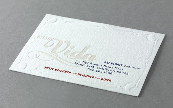 Bistro Vida's LetterPress Business Card