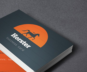 Free Orange and Blue Industrial Business Card Template By PixEden