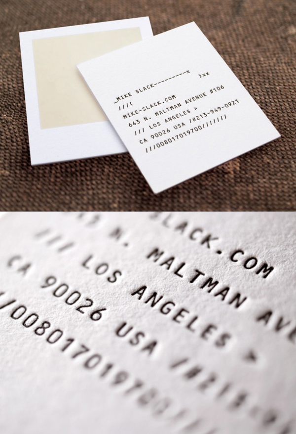 Mike Slack's Funny Minimalist Business Card