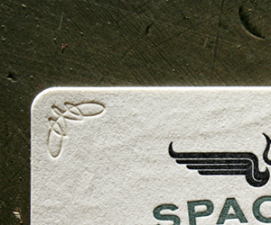 Space 150′s v17 LetterPress Business Card