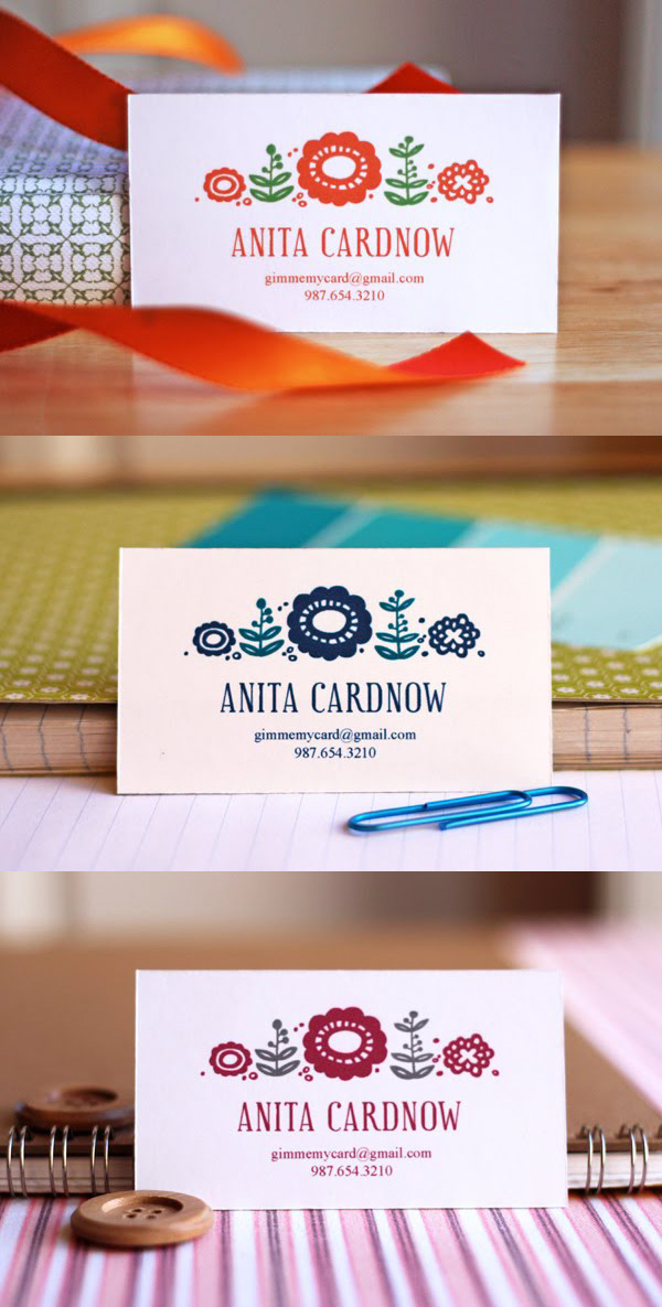 Cute Floral Business Card Template by HowAboutOrange