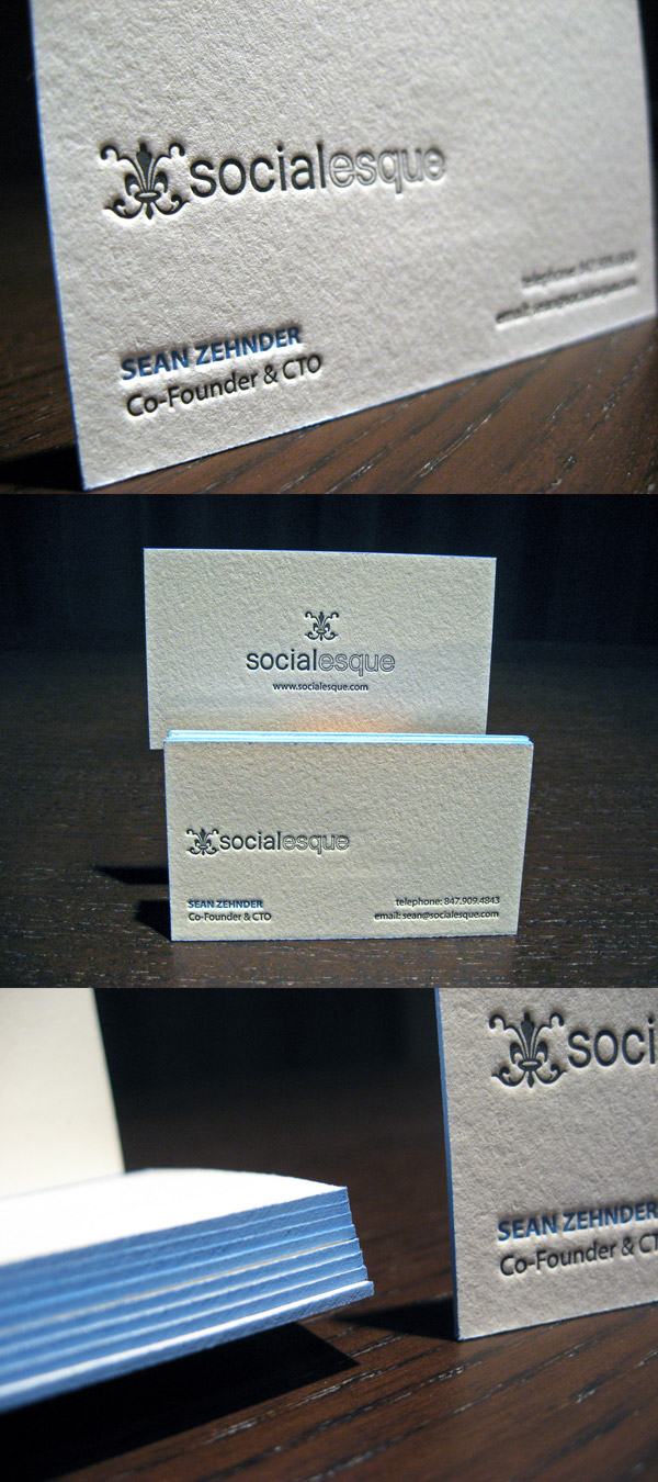 Socialesque's Letterpress Business Card