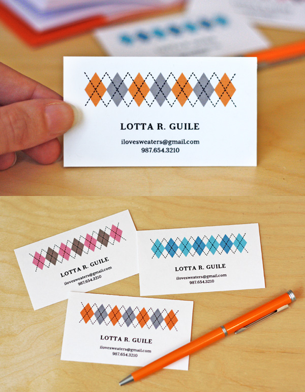 Free Argyle Motif Business Card Template by HowAboutOrange