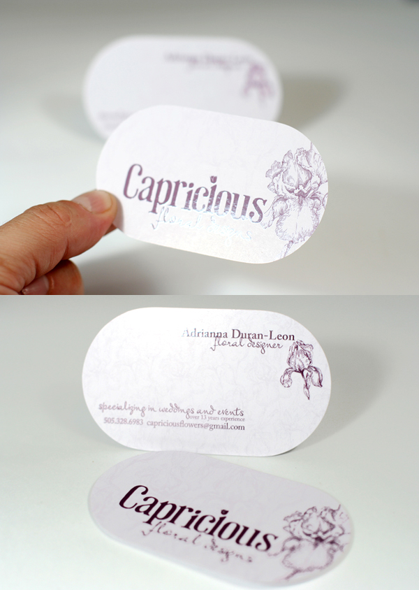 Capricious Floral Designs' Round Die Cut Business Card
