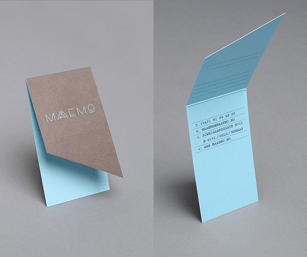 Maaemo's unique restaurant business card