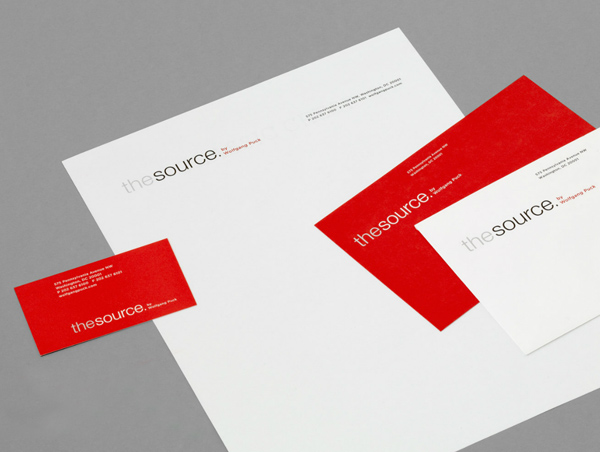 The Source's Red and White, Minimalist Business Card