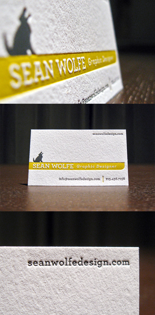 Sean Wolfe's Letterpress Business Card