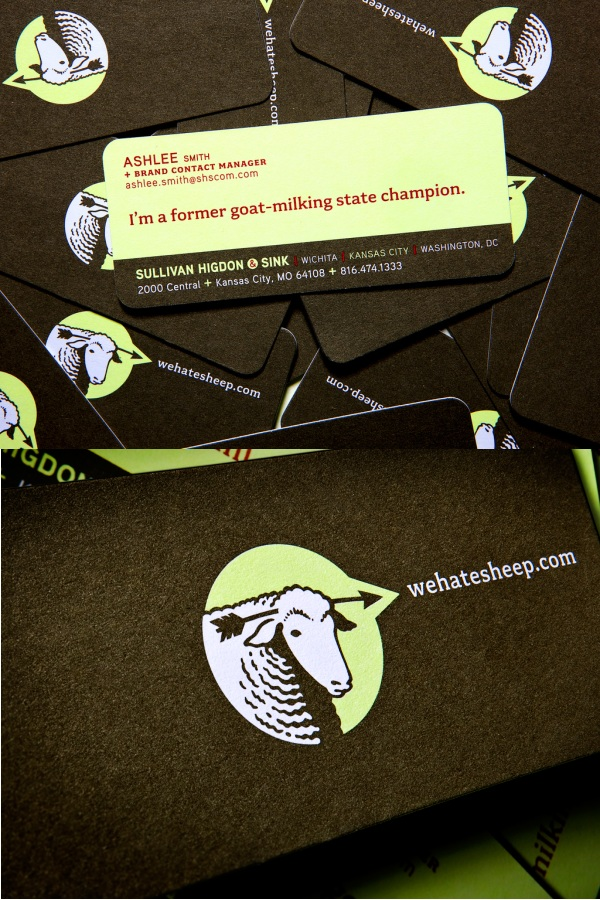 WeHateSheep, Sullivan Higdon & Sink's Business Card