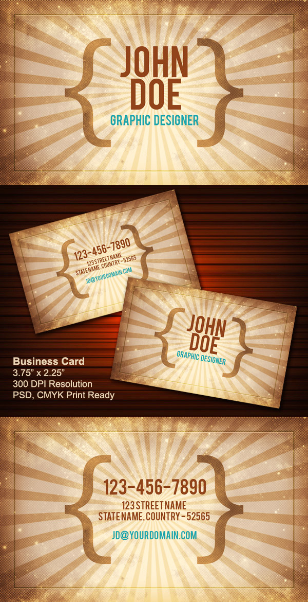 Free Vintage Style Business Card Template by GraphicsFuel