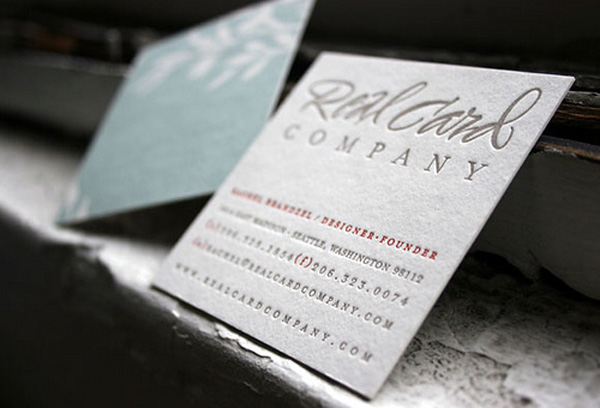 Real Card Company's Letter Press Business Card