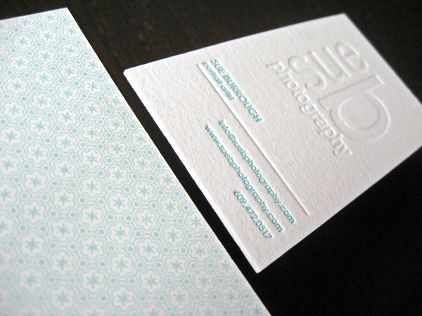 Sue B Photography's LetterPress Business Card