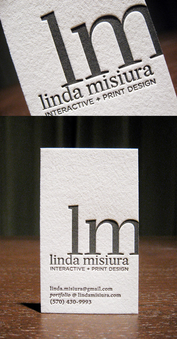 Linda Misiura's LetterPress Business Card