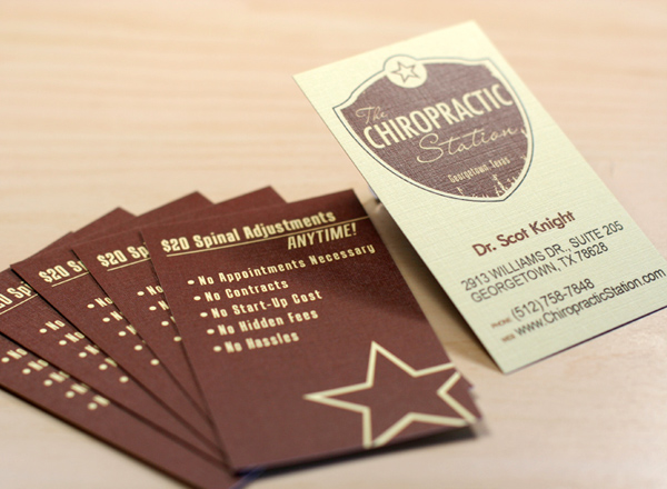 The Chiropractic Station's Linen Textured Business Card