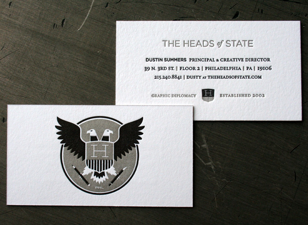 The Heads of State's Cool LetterPress Business Cards