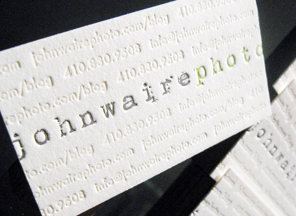 John Waire Photography's LetterPress Business Card