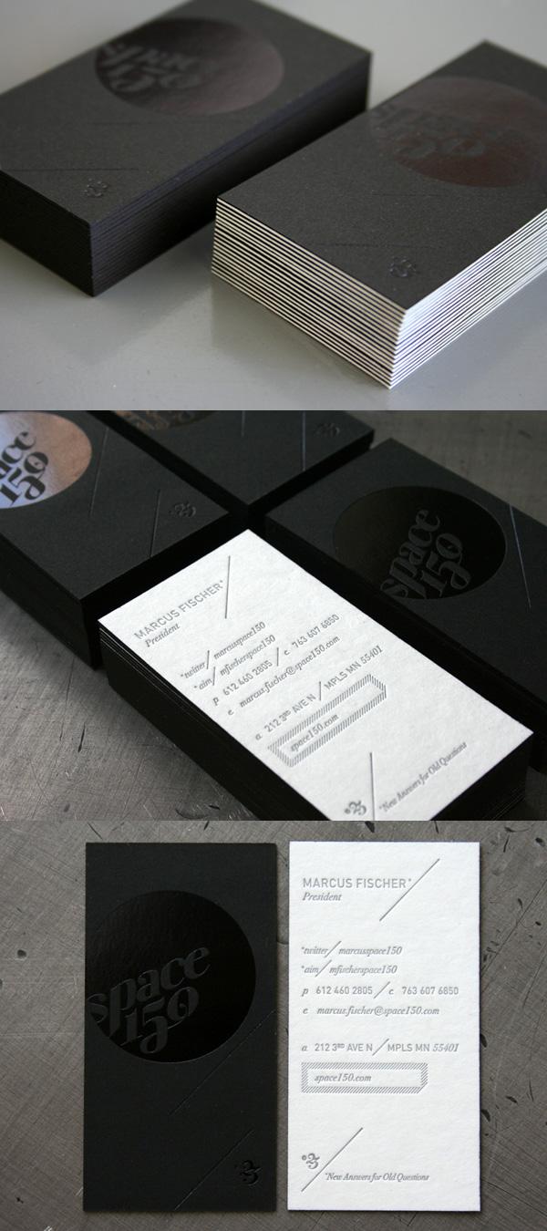 Space150's v23 Letterpress Black Business Card