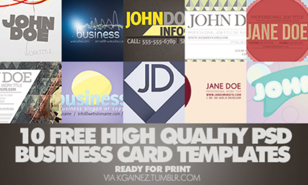 KGainez' 10 Free Business Card Templates